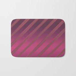 Slant red crimson stripes on a crimson satin background . Bath Mat