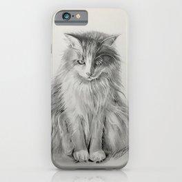 Sam, Pet Cat Portrait, Pencil Drawing by Artist Lyubov Rasic iPhone Case