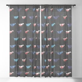 Red and blue shrimp Sheer Curtain