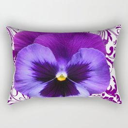 LILAC PURPLE PANSY SPRING FLORAL PATTERN Rectangular Pillow