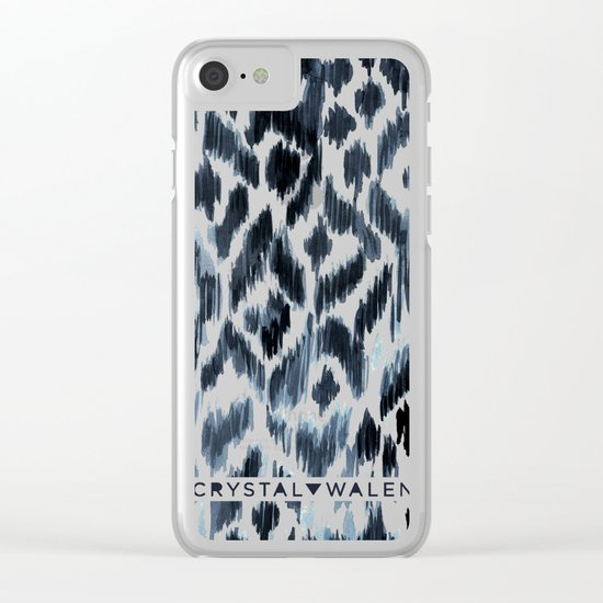 Indigo Ikat Pattern Clear iPhone Case
