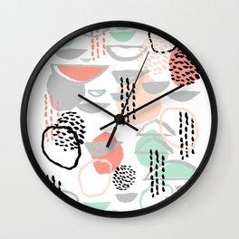 Callie - abstract minimal pastel art print texture ink hipster minimalist office or nursery Wall Clock