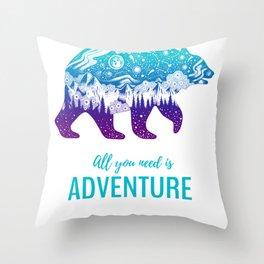 Adventure Bear Throw Pillow