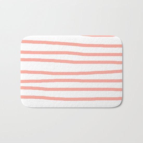 Simply Drawn Stripes Salmon Pink on White Bath Mat