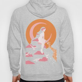 Moon Witch, Boho 70s 60s, 20, Art Nouveau Inspired Art Hoody
