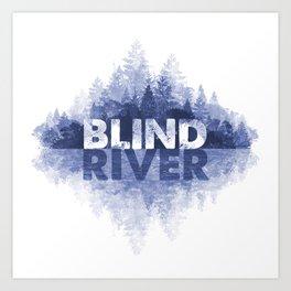Blind River Trees (blue) Art Print