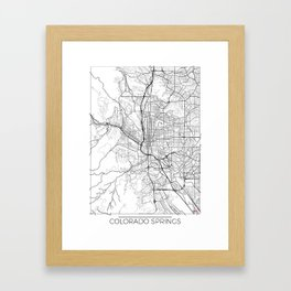Colorado Springs Map White Framed Art Print