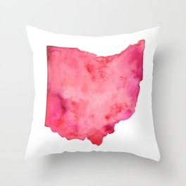 Red Ohio Throw Pillow