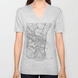 Valencia Map White Unisex V-Neck