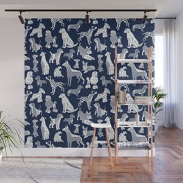 Geometric sweet wet noses // navy blue background white dogs Wall Mural