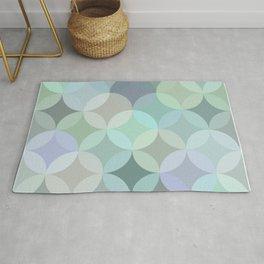 Shades of blue circle mosaic Rug