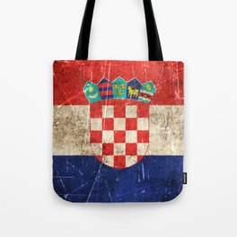 Vintage Aged and Scratched Croatian Flag Tote Bag