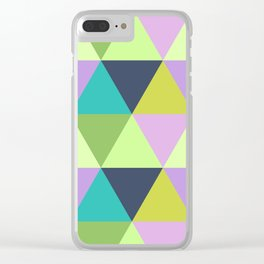 Light harlequin pastel quilt pattern Clear iPhone Case