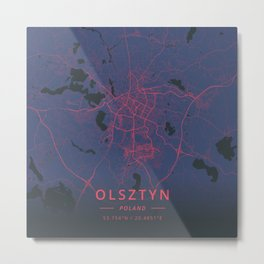 Olsztyn, Poland - Neon Metal Print