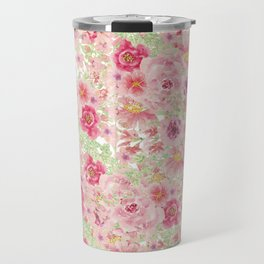 Pastel pink red watercolor hand painted floral Travel Mug