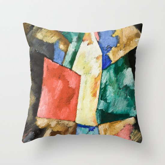 Abstraction: Blue, Yellow and Green by Marsden Hartley Throw Pillow by Fine Earth Prints Society6