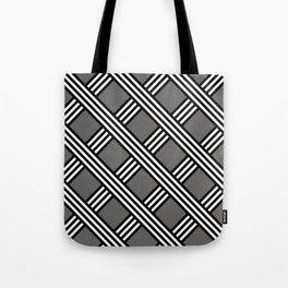 Pantone Pewter, Black & White Diagonal Stripes Lattice Pattern Tote Bag