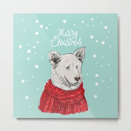 Merry Christmas New Year's card design White dog in a Christmas red knitted sweater. Shepherd Sketch Metal Print