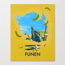 Funen , Denmark map travel poster Canvas Print