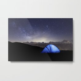 Illuminated tent in mountains at night Metal Print