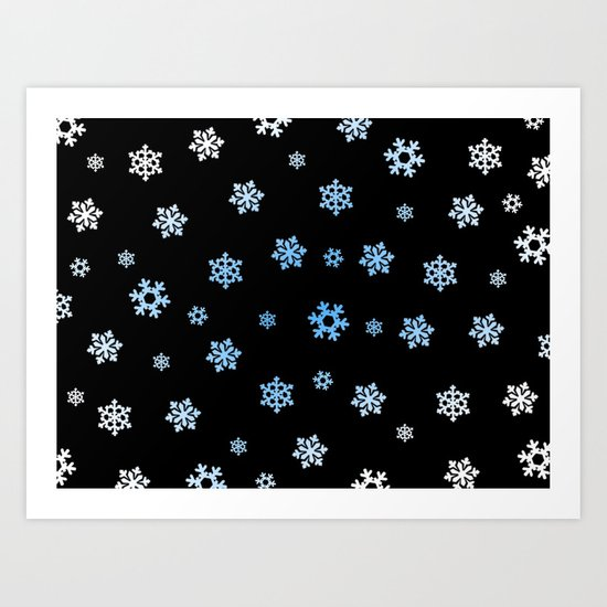 Snowflakes (Blue & White on Black) Art Print