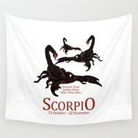 scorpio Wall Tapestries featuring Scorpio by Adamzworld
