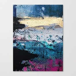 Twilight: a beautiful, abstract watercolor + mixed-media piece in blue, gold, purple, pink, + black Canvas Print