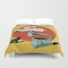 The Cat and the Cat Song (red) Duvet Cover