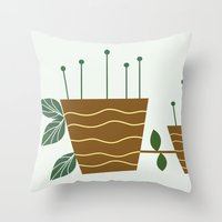 plants Throw Pillows featuring plants by aticnomar