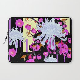 Modern Art White Spider Mums Pink Flowers Black Laptop Sleeve