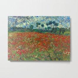 Poppy Field by Vincent Van Gogh, 1890 Metal Print