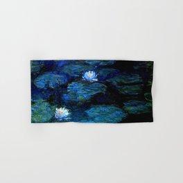 monet water lilies 1899 blue Teal Hand & Bath Towel