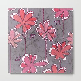 AfricanFabric inspired Flowers on Mauve Metal Print