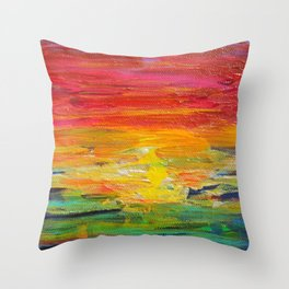 Ombre Rainbow Sunset Throw Pillow