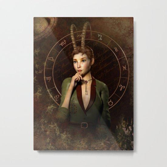 Capricorn zodiac fantasy circle Metal Print