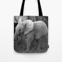 baby elephant Tote Bags featuring Baby Elephant by C. Bright
