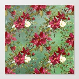 Burgundy red forest green white watercolor Christmas flowers Canvas Print