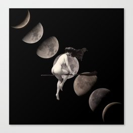 Moon Phases with Vintage Witch Canvas Print