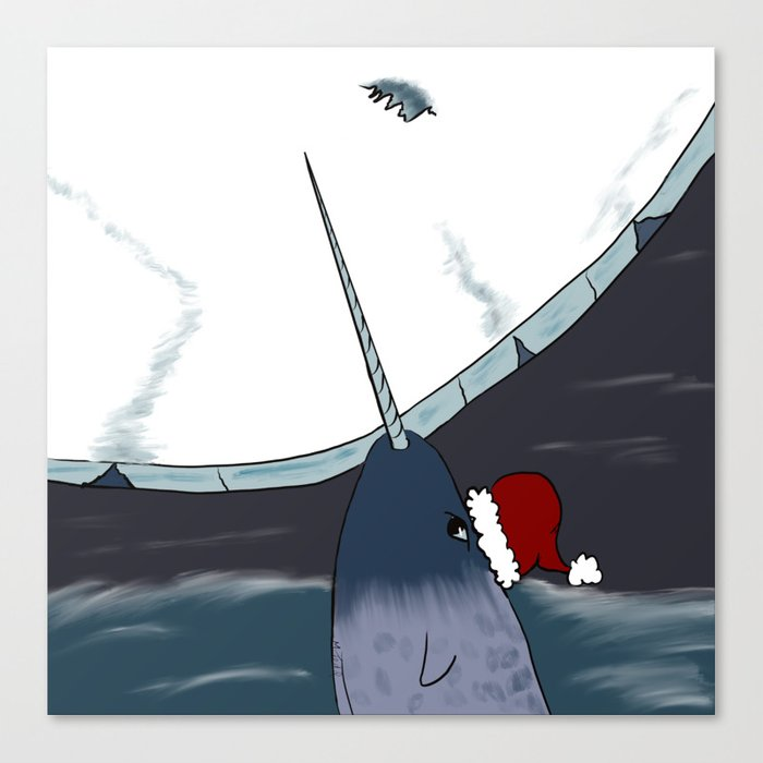 A Narwhal For Christmas Canvas Print
