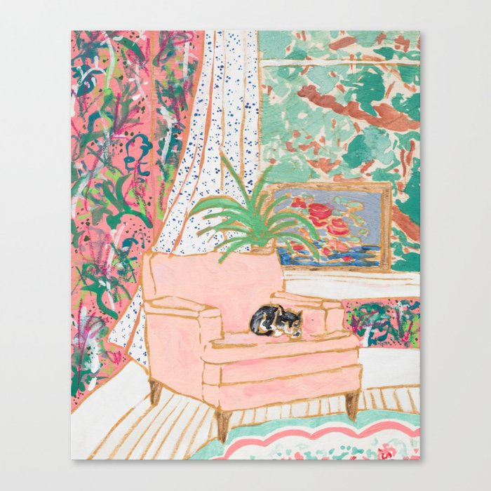 Catnap - Tuxedo Cat Napping in Chair by the Window Canvas Print