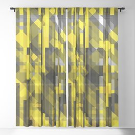 abstract composition in yellow and grays Sheer Curtain