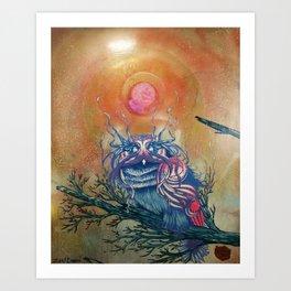 God King Owl, Surreal Animal Art Art Print