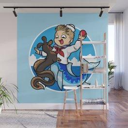 A Merboy and his Sea Dog Wall Mural