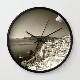 Santorini Seascape in sepia Wall Clock