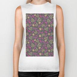 Botanical neon pink brown gray floral illustration Biker Tank
