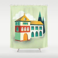 house Shower Curtains featuring House by Mila Spasova