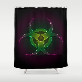 An illustration of a fluorescent biohazard symbol.  Shower Curtain