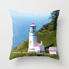 Lighthouse on Oregon Coast Throw Pillow
