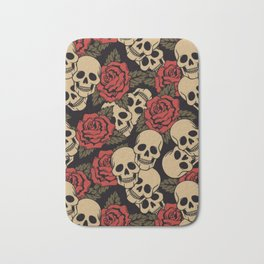 Roses and Skulls Bath Mat