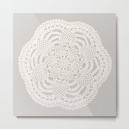 Cream on Taupe Antique Crocheted Lace Pineapples Doily Metal Print